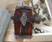 Rich Brown Rustic Leather Cuff With Cross and Vintage Rhinestones