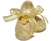 Mackenzie Baby Girl Shoes /slipper/bootie, Light Gold Shantung, Infant- Preschool, Handmade by Pink2Blue.