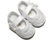 Baby Grace Girl Shoe ,  Wedding, Flower Girl, Christening, /slipper/bootie Infant Sizes by Pink2Blue.