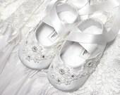 Baby Girl Shoe Katherine in Dupioni Silk with Swarovski Crystals, Wedding Flower Girl, slipper/bootie Infant, Toddler and Pre School Sizes.