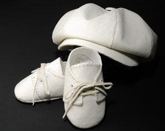 Baby Boy Lucas Hat and Shoes, Wedding, Baptism, Christening, Linen, Newsboy hat, 0-36 months to Pre School sizes, Handmade.