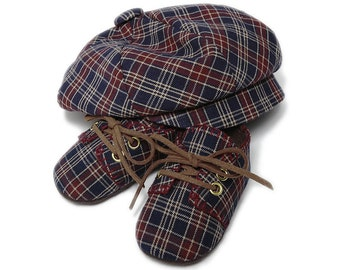 The William Baby Boy Cap and Shoe Set, Sporty Navy Blue and Maroon Plaid, Infant, Handmade by pink2blue.