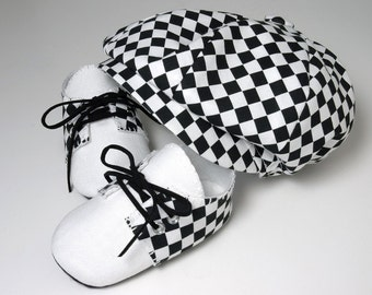 Cooper Baby Boy Hat and Shoes, Checkered and Linen.  Ring Bearer, Sporty, Infant, Handmade by pink2blue.