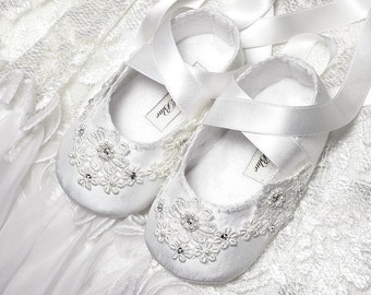 Baby Girl Shoe Katherine in Dupioni Silk with Swarovski Crystals, Wedding Flower Girl, slipper/bootie Infant, Toddler and Pre School Sizes.