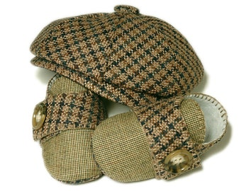 Baby Boy Newsboy Hat Set, Ring Bearer,  Houndstooth and Linen. Newsboy, Sporty, Handmade Baby Boys Shoes and Hats.