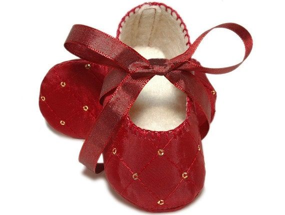 Amelia Baby Girl Shoes, Candy Apple Red /Slipper/Bootie,Handmade