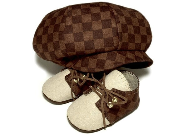 Lucas Baby Boy Hat and Shoes, Ring Bearer, Sporty Golf Set. Brown Checked, Linen, Newsboy style Trendy, Infant, Handmade