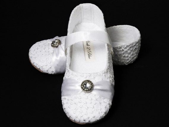 Baby Girl Shoe Sophia in White. Wedding, Flower Girl, Christening,Infant, Handmade by Pink2Blue.