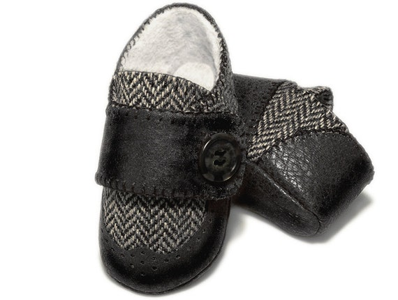 Baby Boy Wingtip Shoes, Black and Gray Herringbone, Infant Shoes, Toddler, Handmade by Pink2Blue.