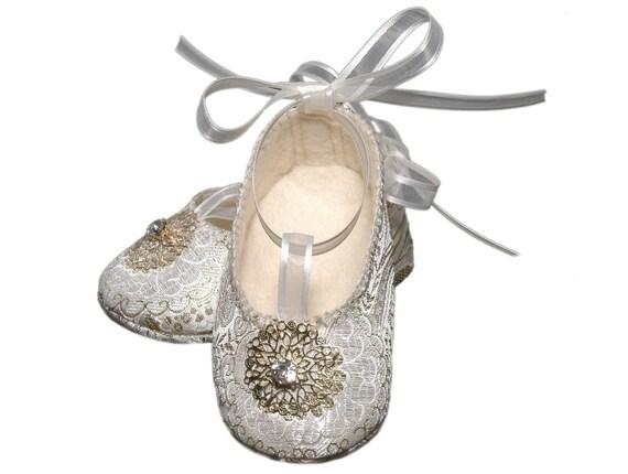 Baby Girl Giselle Shoes, Winter White Brocade Ballerina /Slipper/Bootie, Wedding, Flower Girl, Christening, Handmade Baby Girl Shoes