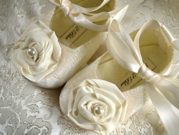 Victoria Wedding Baby Girl Shoes, Wedding Flower Girl, Christening, Handmade by Pink2Blue.