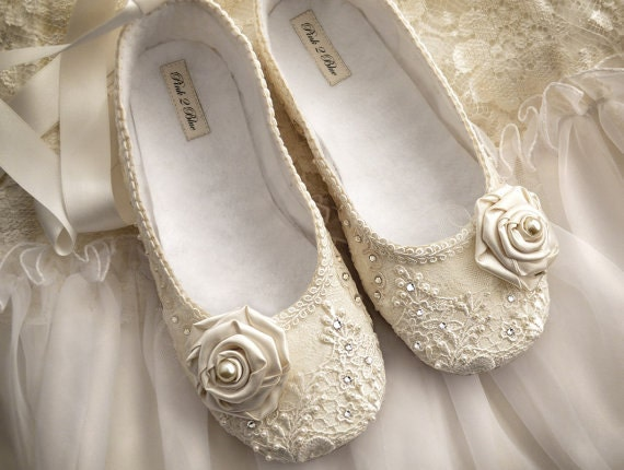Ballet Flat Wedding Shoes Bridal Vintage Lace Swarovski