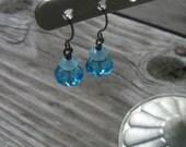 Hannah - Ocean Blue Crystal and Gemstone Earrings - FREE SHIPPING