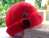 Red Hand Felted Cloche Hat for Girl - Toddler