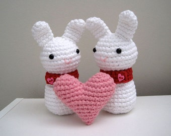 Heart Bunnies Set-Amigurumi Bunnies and Heart