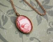 New Zealand Stamp Necklace - Red Kiwi