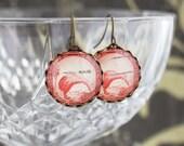 New Zealand Stamp Earrings - Red Kiwi