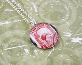 New Zealand Stamp Glass Pendant - Red Kiwi