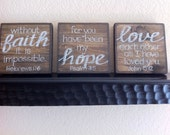 Scripture Art - Home Decor - Wall Art - Faith.Hope.Love - SET of 3 -  Wood Blocks - Acrylic Painting - Mothers Day