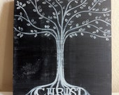 Christian Art - Rooted in Christ - Wood Block - 9x9  READY TO SHIP- Black - Easter - Inspirational Wall Art