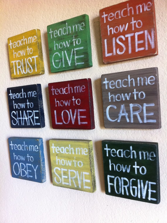 "Reserved for Victoriasharpe - SET of 3- ""Teach Me"" Wood Blocks - Inspirational Art -Nursery, Child's Room, Home Decor, Made to Order"