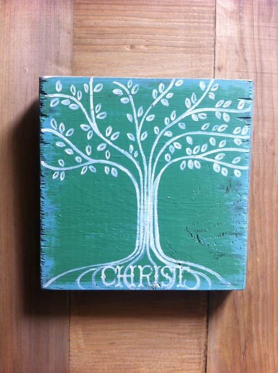 "Christian Art - Rooted in Christ - 5 1/2x 5 1/2"" Wood - Scripture Art - Bible Verse Art - Tree"