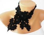 Black Crochet Lace Choker Necklace Scarf, Bow Scarf, Neckwarmer,Cowl,Gift Ideas for Her,Teacher, Graduation Queen Anne 50's style..
