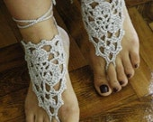 Gray  Barefoot Sandals  Silver  Lace shoes grey Nude shoes  Ladies, Footwear, Bride, Wedding, Cotton, dance, sexy, aglow, vamp, fingerless