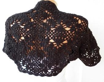 ON SALE - Black Crochet Shrug Bolero Coat  Vest  Bridal  wedding  Bridal Bolero,evening,formal,casual,Bohemian,Gift Ideas for her,bridesmaid