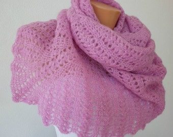 ON SALE - Pink Shawl Lilac Shiny Silvery,Bridal Shawl, Neckwarmer  Cowl in Kid Mohair, Gift Ideas for Her, Mom  The front page on ETSY