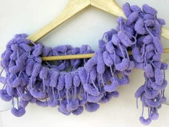 Lilac Scarf Lavender  Purple Cocoon Ponpon  Gift for Mom Her Teacher  Cowl Necktie  Necklace