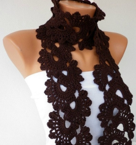 Brown Queen Annes Lace Scarf Crochet Scarf Dark Coffee Chocolate ...