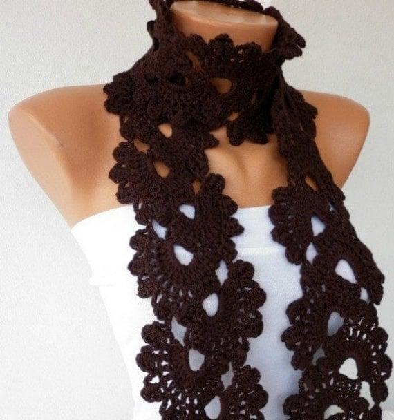 Free Crochet Pattern Queen Anne Lace Scarf : Brown Queen Annes Lace Scarf Crochet Scarf Dark Coffee