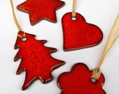 Christmas Red Tree Heart Star Flower Gift Tag Ornament Winter Xmas