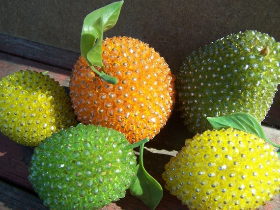 Items similar to vintage faceted glass beaded fruit on etsy