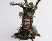 Fairy tree man handsculpted from polymer clay and mixed media