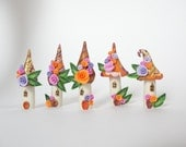 Fairy house village miniature in pink, orange, purple and gold colours handmade from polymer clay