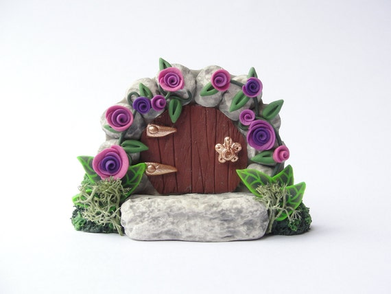 Polymer clay miniature fairy gate door with purple roses for quarter scale dollhouse