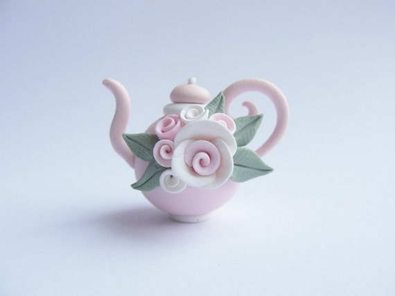 Pale pink teapot with roses polymer clay dollhouse miniature twelfth scale
