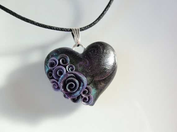 Black heart pendant with purple roses on black cotton cord necklace