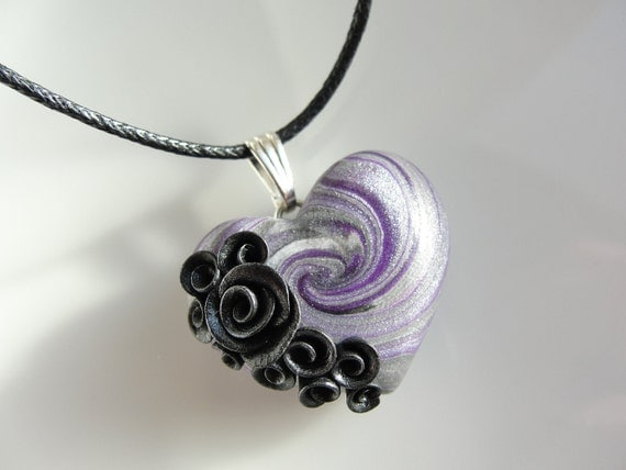 Heart pendant in silver and purple with black and silver roses on black cotton cord necklace