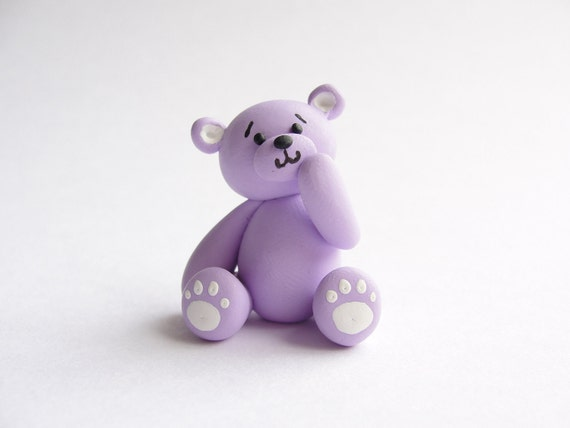 Miniature lilac teddy bear handmade from polymer clay