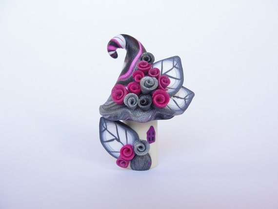 Pink, white and black polymer clay fairy house home miniature