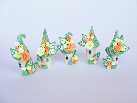 Miniature fairy village in orange, lemon and green handmade from polymer clay