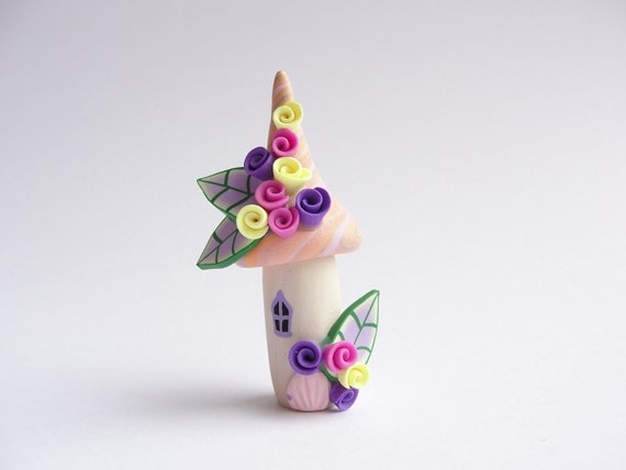 Polymer clay fairy house home miniature in orange, yellow, pink and purple