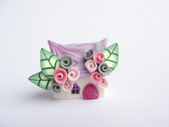Polymer clay fairy cottage home miniature in lilac and pink colours wedding favour, cake topper...