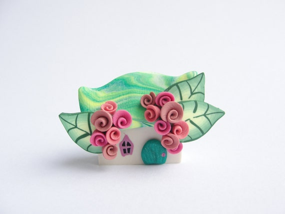 Miniature polymer clay fairy cottage home in green and pink colours wedding favour, cake topper...