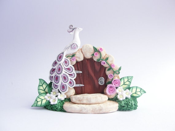 Garden fairy door/gate with white and pink peacock and roses hand made from polymer clay