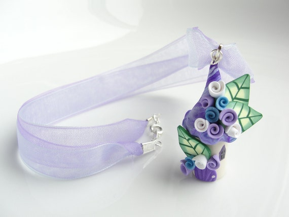 Miniature fairy house necklace in blue, lilac and purple handmade from polymer clay