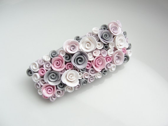 Pink and grey rose barrette hair clip handmade from polymer clay